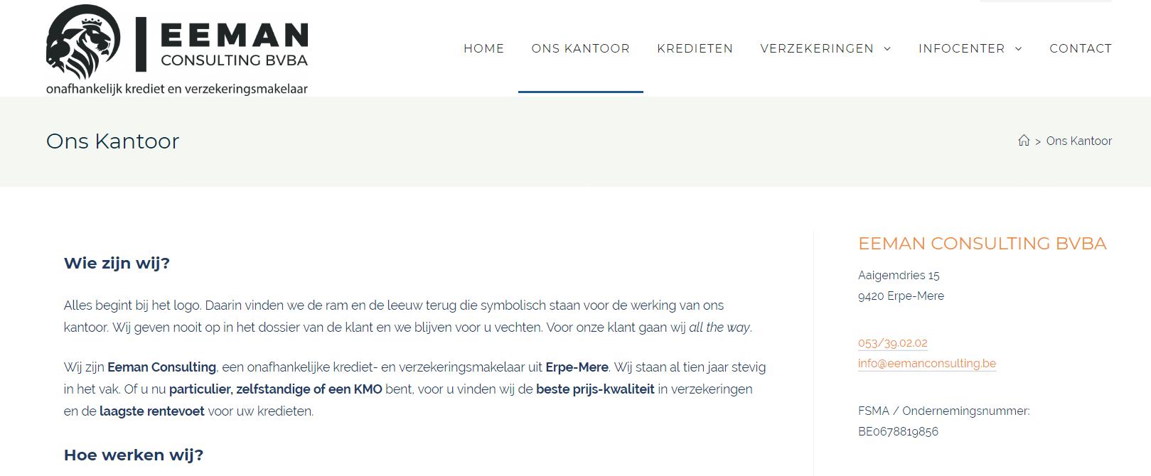Eeman Consulting, nog een websiteproject van Copywriter Myriam Beeckman