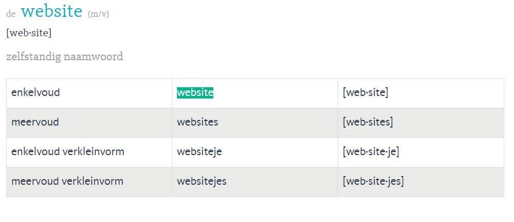 """het woordje """"website"""" op woordenlijst.org"""
